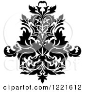 Clipart Of A Black And White Floral Damask Design 7 Royalty Free Vector Illustration