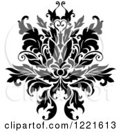 Clipart Of A Black And White Floral Damask Design 8 Royalty Free Vector Illustration