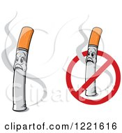 Clipart Of Shocked Cigarette Characters With Smoke And A No Smoking Symbol Royalty Free Vector Illustration