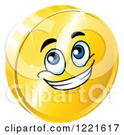 Clipart Of A Happy Gold Coin Character With Blue Eyes Royalty Free Vector Illustration by Vector Tradition SM