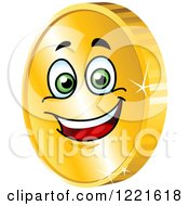 Clipart Of A Happy Gold Coin Character With Green Eyes Royalty Free Vector Illustration