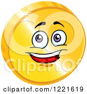 Clipart Of A Happy Gold Coin Character With Purple Eyes Royalty Free Vector Illustration by Vector Tradition SM