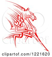 Clipart Of A Red Running Tribal Horse 2 Royalty Free Vector Illustration