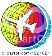 Clipart Of A White Airplane Circling A Colorful Grid Globe Royalty Free Vector Illustration by Vector Tradition SM