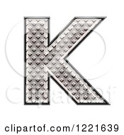 Clipart Of A 3d Diamond Plate Capital Letter K Royalty Free Illustration