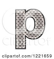 Clipart Of A 3d Diamond Plate Lowercase Letter P Royalty Free Illustration