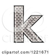 Clipart Of A 3d Diamond Plate Lowercase Letter K Royalty Free Illustration
