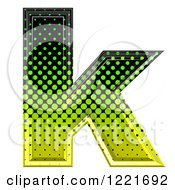 3d Gradient Green And Black Halftone Lowercase Letter K
