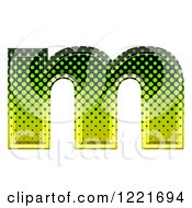 Clipart Of A 3d Gradient Green And Black Halftone Lowercase Letter M Royalty Free Illustration