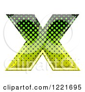 3d Gradient Green And Black Halftone Capital Letter X