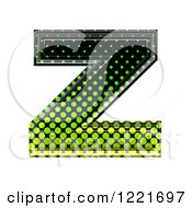 3d Gradient Green And Black Halftone Lowercase Letter Z