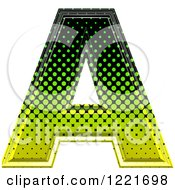 3d Gradient Green And Black Halftone Capital Letter A