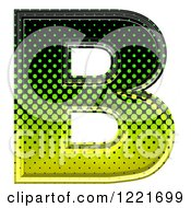 Clipart Of A 3d Gradient Green And Black Halftone Capital Letter B Royalty Free Illustration