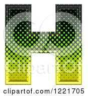3d Gradient Green And Black Halftone Capital Letter H