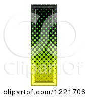3d Gradient Green And Black Halftone Capital Letter I