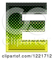3d Gradient Green And Black Halftone Capital Letter E