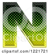 Clipart Of A 3d Gradient Green And Black Halftone Capital Letter N Royalty Free Illustration