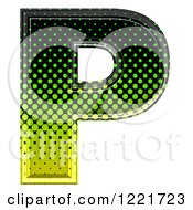 Clipart Of A 3d Gradient Green And Black Halftone Capital Letter P Royalty Free Illustration