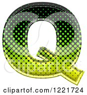 Clipart Of A 3d Gradient Green And Black Halftone Capital Letter Q Royalty Free Illustration