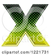 Clipart Of A 3d Gradient Green And Black Halftone Capital Letter X Royalty Free Illustration