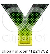 Clipart Of A 3d Gradient Green And Black Halftone Capital Letter Y Royalty Free Illustration