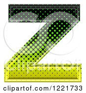 Clipart Of A 3d Gradient Green And Black Halftone Capital Letter Z Royalty Free Illustration