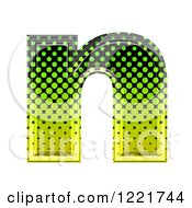 Clipart Of A 3d Gradient Green And Black Halftone Lowercase Letter N Royalty Free Illustration