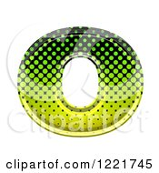 Clipart Of A 3d Gradient Green And Black Halftone Lowercase Letter O Royalty Free Illustration