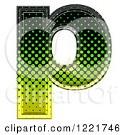 Clipart Of A 3d Gradient Green And Black Halftone Lowercase Letter P Royalty Free Illustration