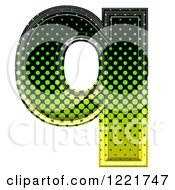 Clipart Of A 3d Gradient Green And Black Halftone Lowercase Letter Q Royalty Free Illustration