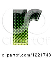 Clipart Of A 3d Gradient Green And Black Halftone Lowercase Letter R Royalty Free Illustration