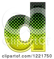 Clipart Of A 3d Gradient Green And Black Halftone Lowercase Letter D Royalty Free Illustration
