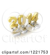 Clipart Of A 3d Golden Year 2014 On Top Of A Silver 2013 On White Royalty Free Illustration by chrisroll