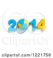 3d Year 2014 And Earth In Blue And Yellow On White