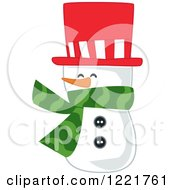 Snowman Wearing A Red Top Hat And A Green Scarf