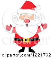 Clipart Of A Welcoming Red Nosed Santa Claus Royalty Free Vector Illustration