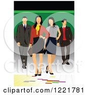 Clipart Of People Modeling Clothes Royalty Free Vector Illustration