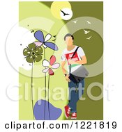 Clipart Of A Casual Man Modeling Clothes Royalty Free Vector Illustration by leonid