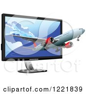 Commercial Airliner Emerging From A Computer Screen