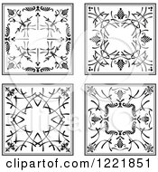 Clipart Of Black And White Ornamental Designs Royalty Free Vector Illustration by leonid