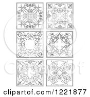 Clipart Of Grayscale Ornamental Designs Royalty Free Vector Illustration by leonid