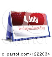 Clipart Of A 4th Of July Desk Calendar Royalty Free Vector Illustration