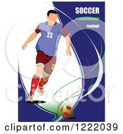 Clipart Of A Male Soccer Player With Text Royalty Free Vector Illustration
