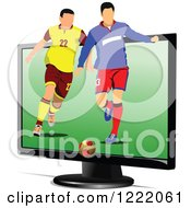 Clipart Of Male Soccer Players Emerging From A Monitor Royalty Free Vector Illustration