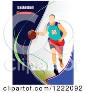 Clipart Of A Male Basketball Player With Text Royalty Free Vector Illustration