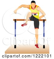 Clipart Of A Track And Field Runner Leaping A Hurdle Royalty Free Vector Illustration