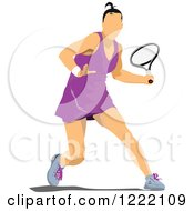 Clipart Of A Female Tennis Player Royalty Free Vector Illustration