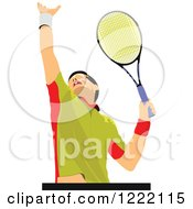 Clipart Of A Male Tennis Player Royalty Free Vector Illustration