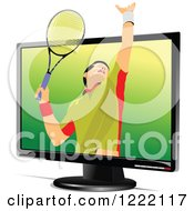 Clipart Of A Male Tennis Player Emerging From A Screen Royalty Free Vector Illustration