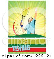 Clipart Of A Male Tennis Player With Text Royalty Free Vector Illustration